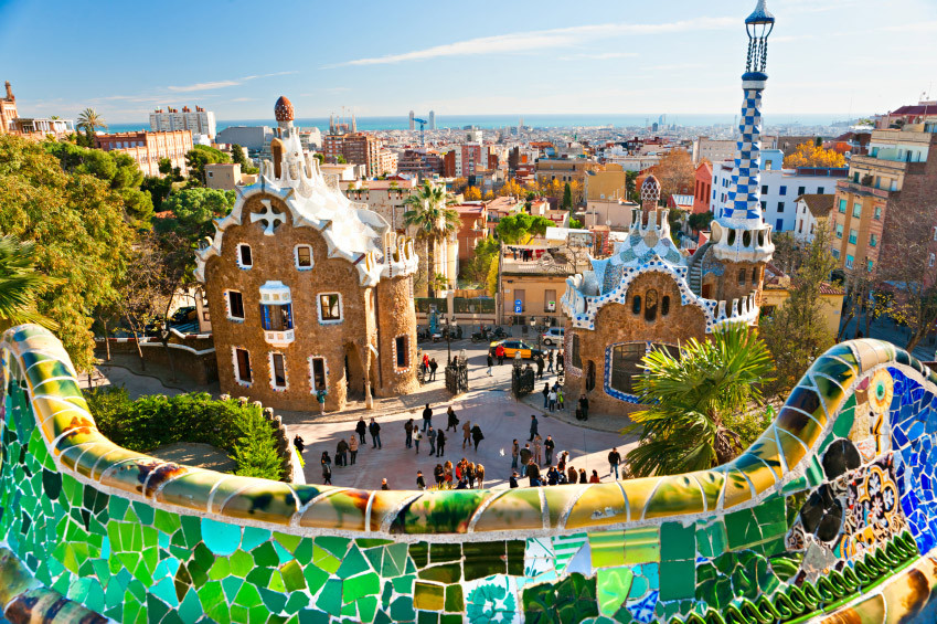 Parc Güell, Barcelona Spain. Public park system built in 1900.