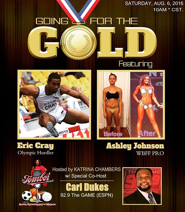 Join me this Saturday on @thetomboibrunch when I talk to two people who CRUSHED THEIR GOALS!! Eric Cray is headed to RIO for THE OLYMPICS and Ashley Johnson became a PRO after only her 1ST COMPETITION!! Hear their INSPIRING STORY, plus I talk all things NFL with ESPN Commentator CARL DUKES as we kick off the 2016 NFL Season!! This episode is for YOU!! #teamTOMBOI #thetomboibrunch #becauseladieslovesportstoo #sportsentertainment&mimosas #downloadthetomboibrunchpodcast #realityradio 🏃🏾💪🏾🏈👄🎙🍾