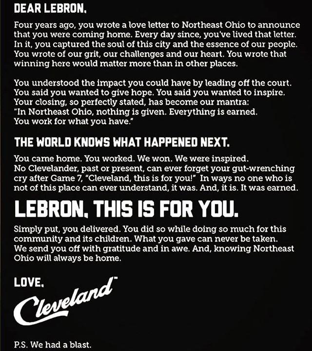 Dear LEBRON... #aletterfromCleveland #clevelandrocks 🤩🏀#classy #thetomboibrunch #becauseladieslovesportstoo #sportsentertainmentandmimosas🥂 #realityradio @cavs @lebronjames @nba