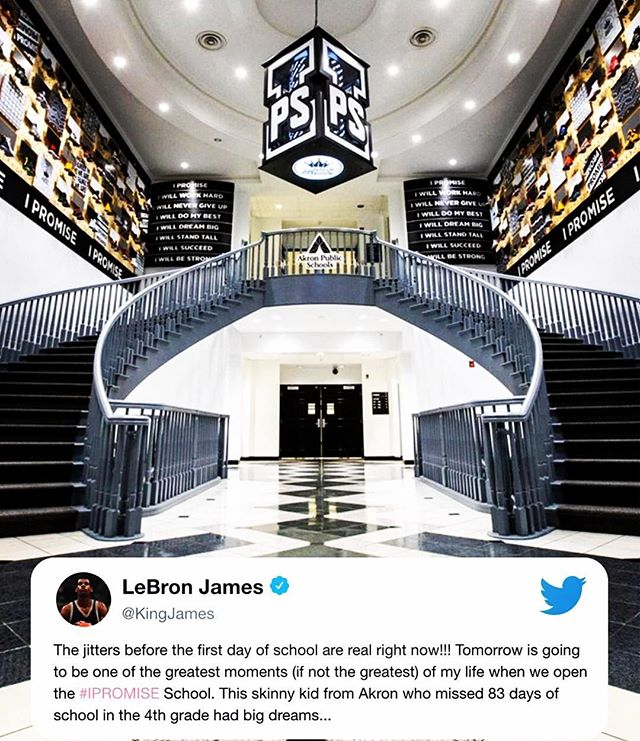 BRAVO to @kingjames - opening the doors of an elementary school he built for at-risk youth back in his hometown!! 👏🏾👏🏾 WOW!!! #morethananathlete #ipromise @espn #thetomboibrunch #becauseladieslovesportstoo #sportsentertainmentandmimosas #realityradio #kingjames
