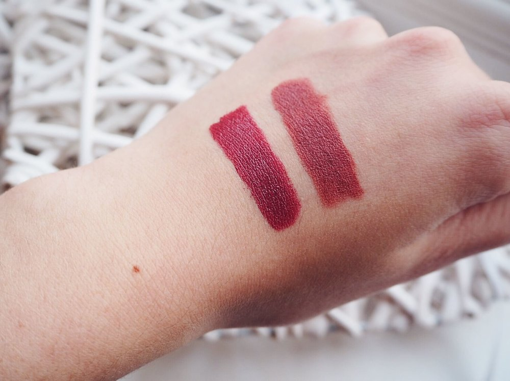 Left: Maybelline Keep It Classy, Right: No7 Raspberry Wine
