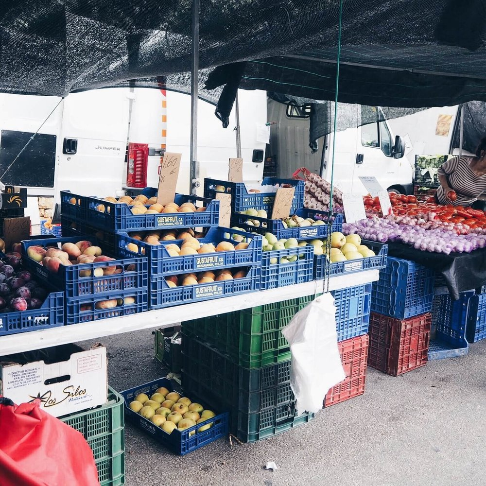 fruit stalls at the market -
