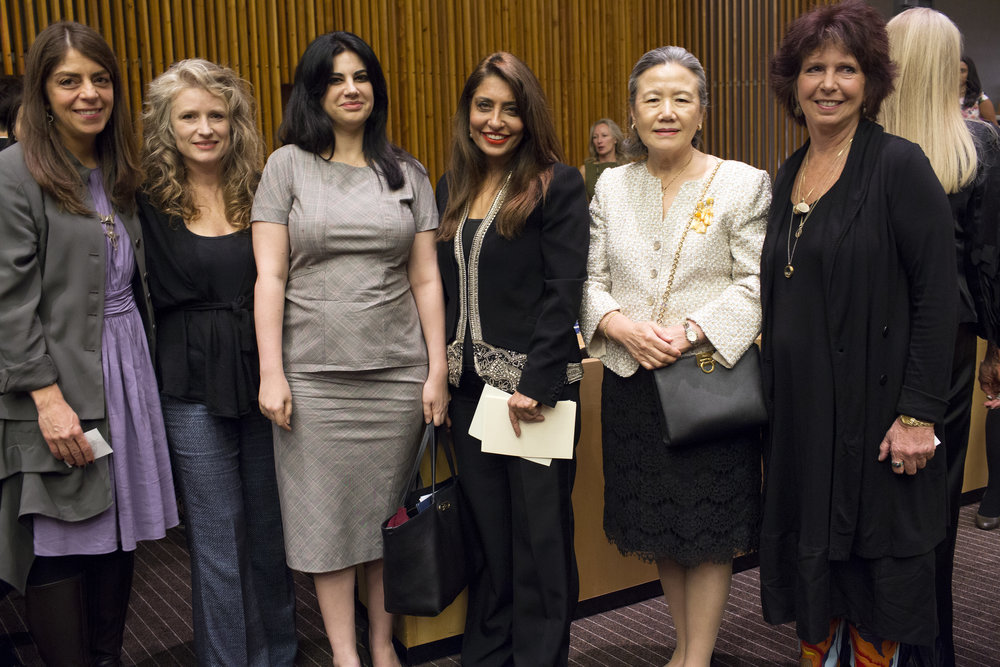 Ban Soon-taek  stands for a photo with Nancy Abraham, filmmaker Cynthia Hill, Elizabeth Flores U.N. Ambassador of Honduras, Muna Rihani Al-Nasser, and (far right) Kit Gruelle.JPG