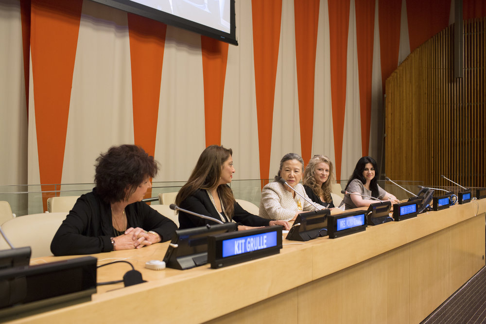 The Speakers Panel- Kit Gruelle, Muna Rihani Al-Nasser, H.E. Ban Soon-taek,  Filmmaker Cynthia Hill and Elizabeth Flores .JPG