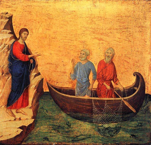 di Buoninsegna,  Duccio .   The Calling of the Apostles Peter and Andrew    .   1308-1311. Tempura on panel. National Gallery of Art, Washington, D.C.