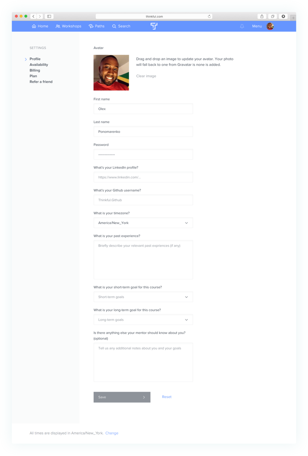Copy of Settings page