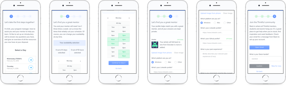 Mobile version of the onboarding designs.