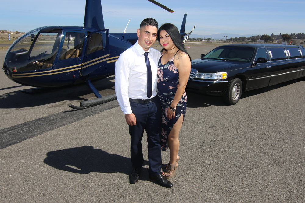 Next, hop out of the helicopter and into the limo VIP style! - Sit back and enjoy your 30 minute limo ride with Costa Limousines to Black Swan Gondola Company at Lake San Marcos where your Venetian gondola awaits!