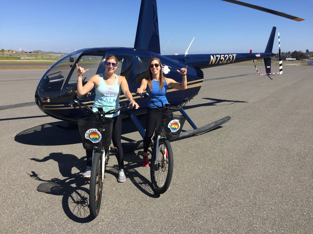 Electric bike rental and helicopter ride San Diego