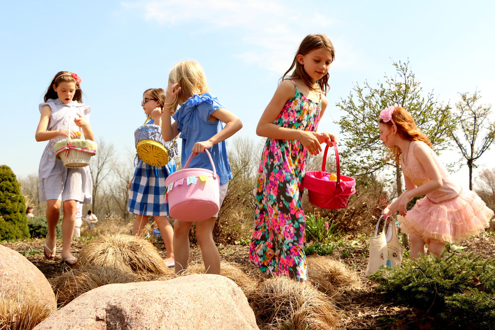 Children hunt for Easter eggs on April 15, 2017.