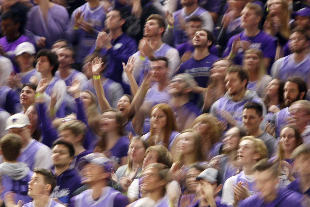 """The K-State student section rocks back and forth in a dance called """"The Wabash"""" during a game on Jan. 20, 2018."""