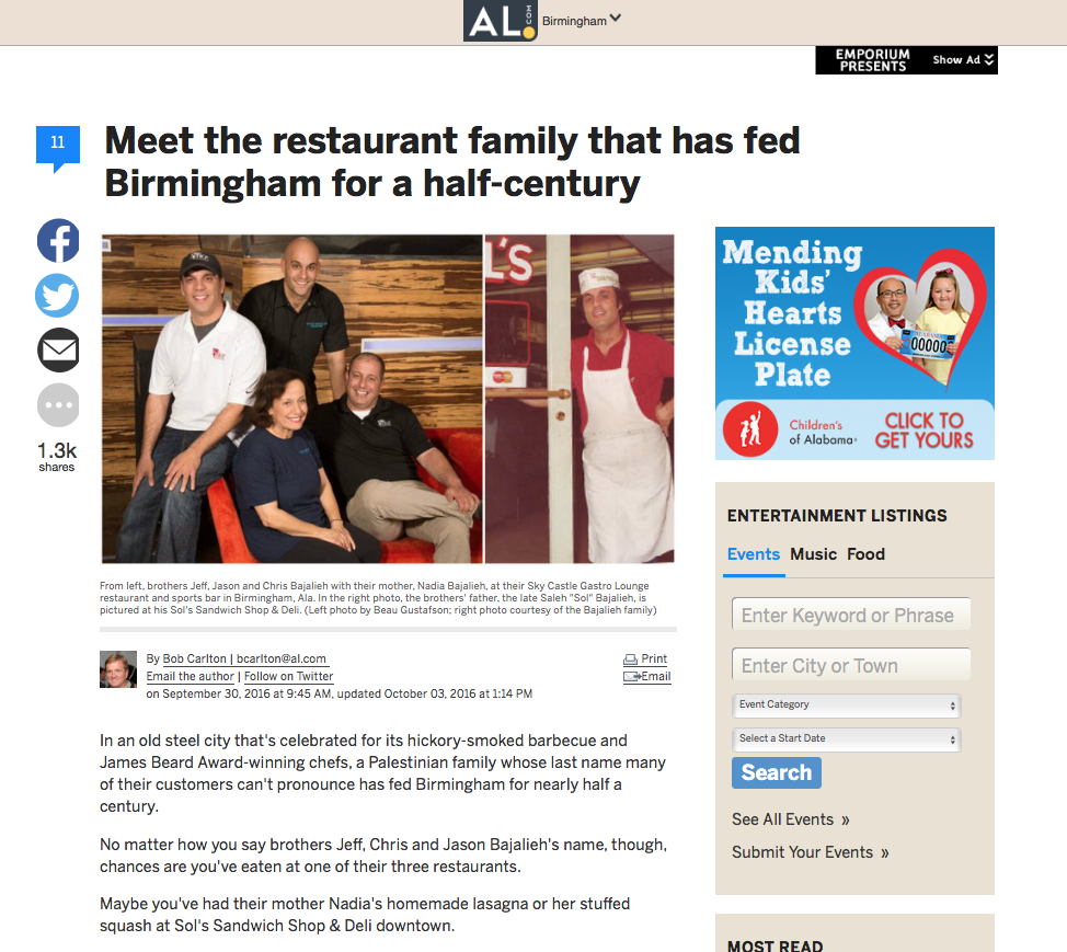 "AL.com: SLICE PIZZA & BREWHOUSE      ""Meet the restaurant family that has fed Birmingham for a half-century"""