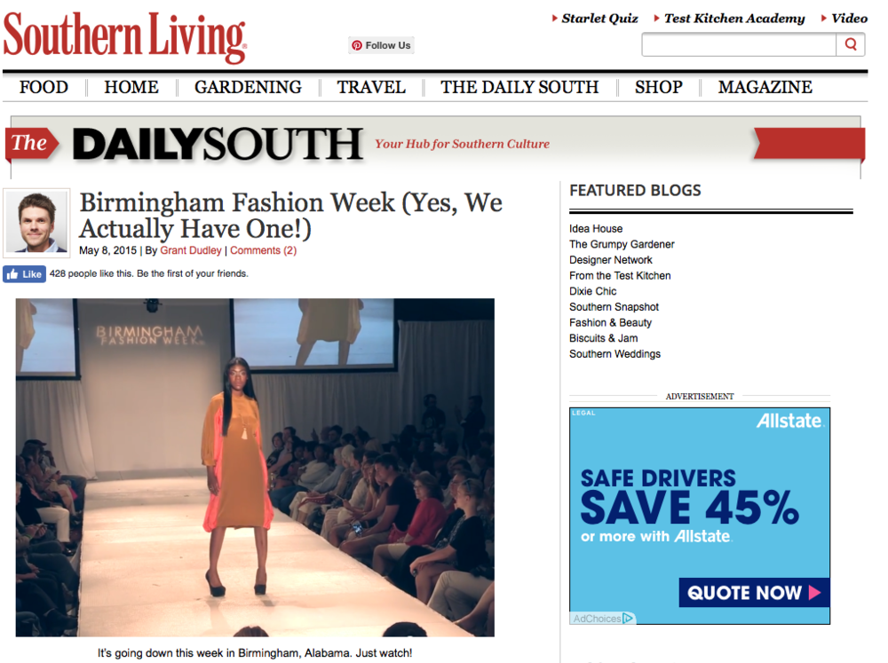 "SOUTHERN LIVING: BIRMINGHAM FASHION WEEK ""Birmingham Fashion Week (Yes, We Actually Have One!)"""
