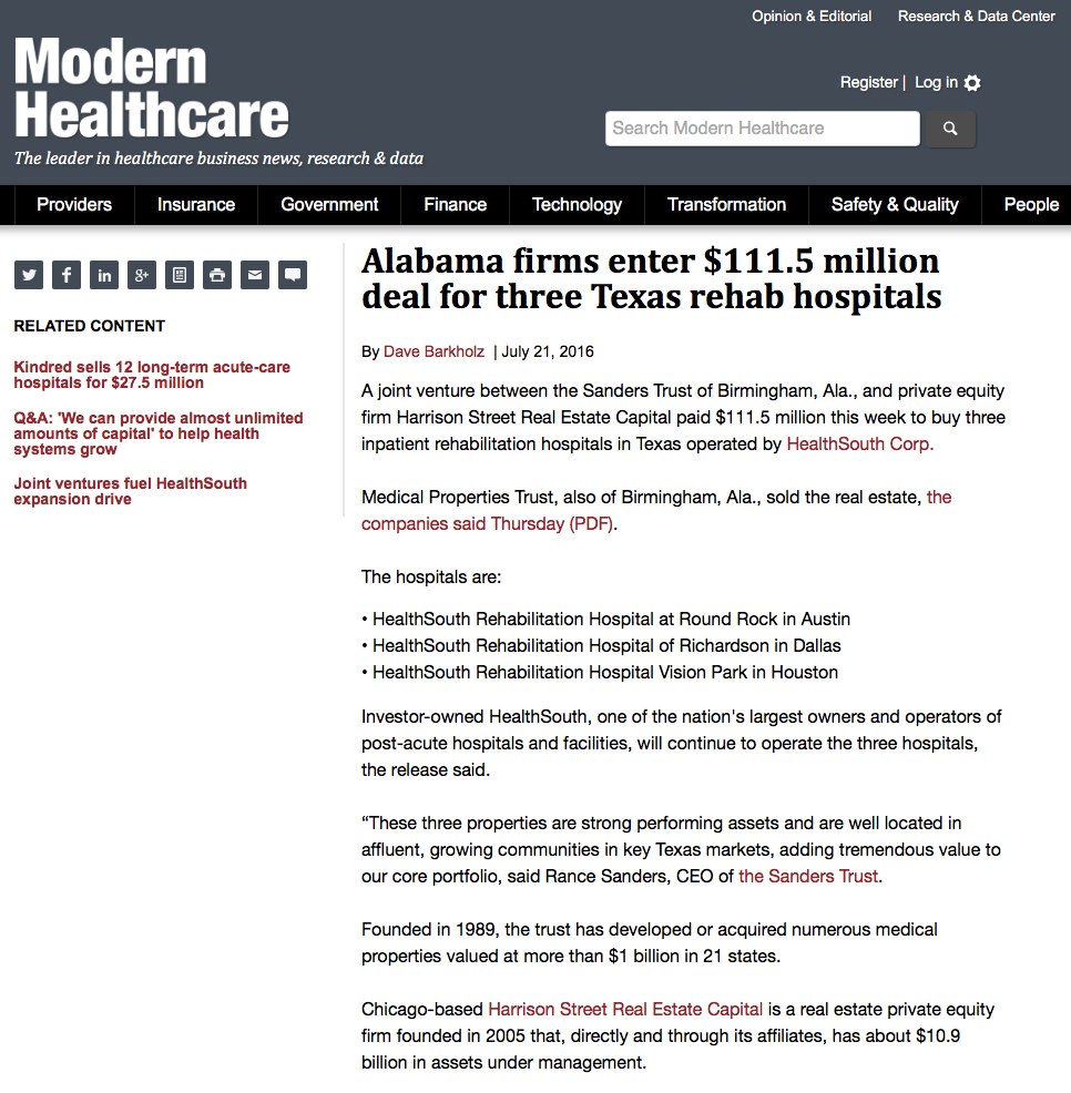 "MODERN HEALTHCARE: THE SANDERS TRUST ""ALABAMA FIRMS ENTER $111.5 MILLION DEAL FOR THREE TEXAS REHAB HOSPITALS"""