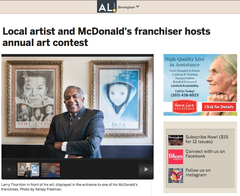 "BIRMINGHAM MAGAZINE: MCDONALD'S OF CENTRAL ALABAMA      ""The Art of Self Expression: Local Artist and McDonald's Franchiser Hosts Annual Art Contest"""