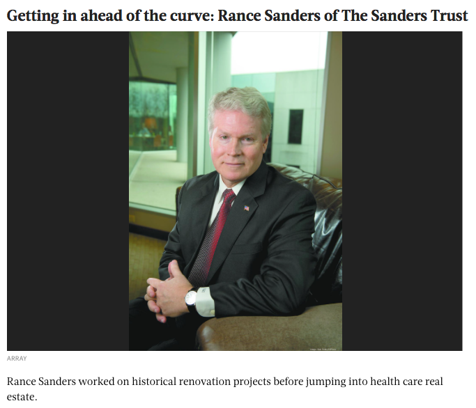 "BIRMINGHAM BUSINESS JOURNAL: THE SANDERS TRUST      ""GETTING IN AHEAD OF THE CURVE: RANCE SANDERS OF THE SANDERS TRUST"""