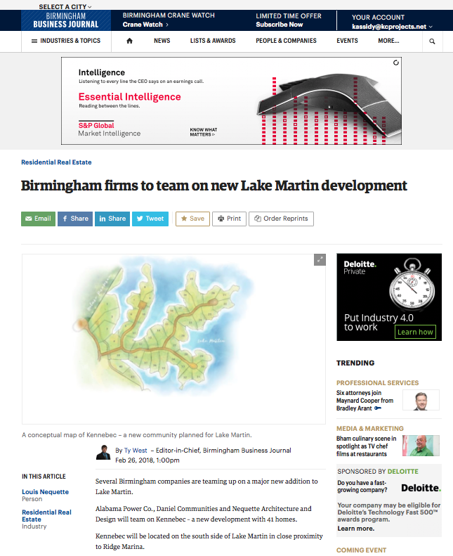 "Birmingham Business Journal: Nequette Architecture and Design     ""Birmingham firms to team on new Lake Martin development"""