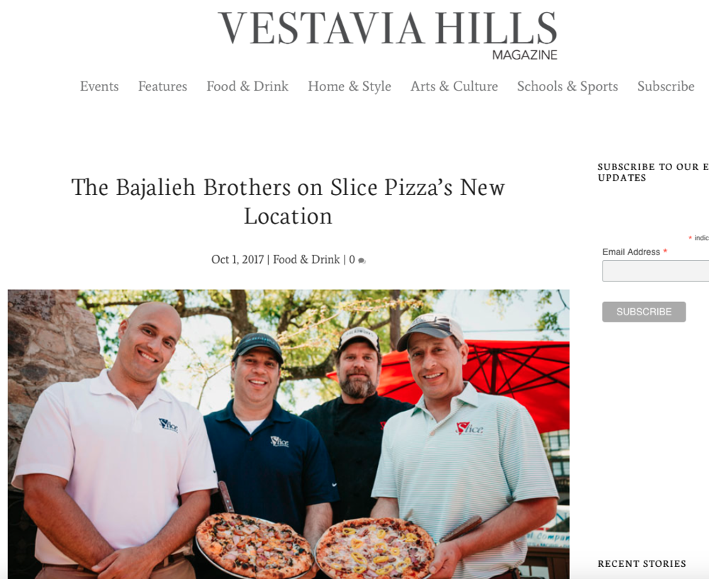 "Vestavia Hills Magazine: Slice Pizza & Brewhouse      ""The Bajalieh Brothers on Slice Pizza's New Location"""