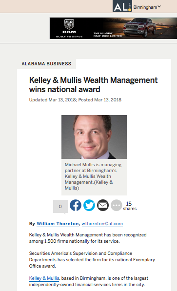 "AL.com: Kelley & Mullis      ""Kelley & Mullis Wealth Management wins national award"""