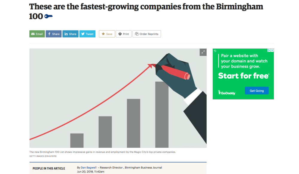 "BBJ: News     ""These are the fastest-growing companies from the Birmingham 100"""