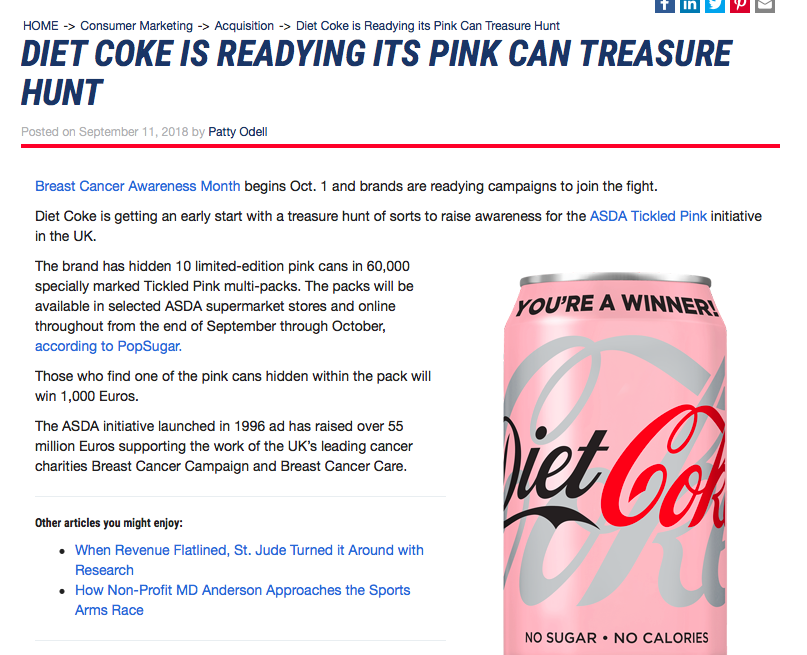 "Chief Marketer     ""Diet Coke is readying its pink can treasure hunt"""