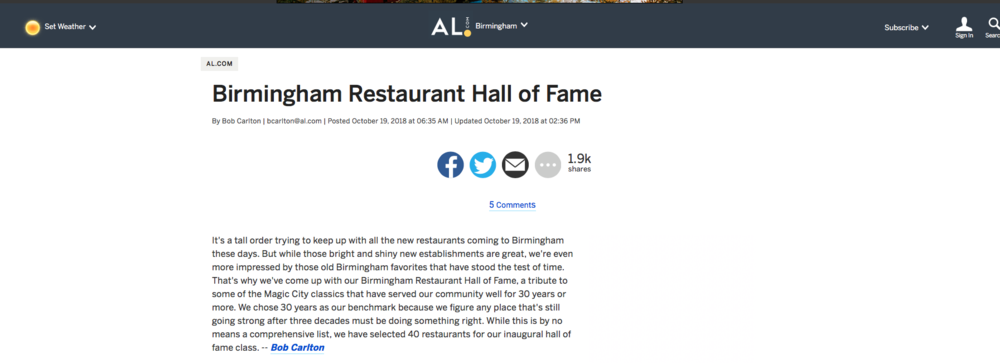 "Al.com     ""birmingham restaurant hall of fame"""