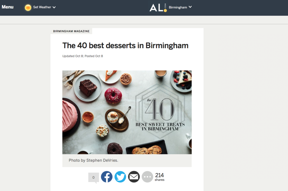 "Al.com: Birmingham magazine     '""The 40 best desserts in birmingham'"