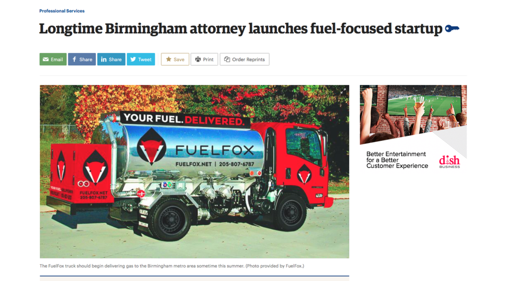 "BBJ: professional services     ""longtime birmingham attorney launches fuel-focused startup"""