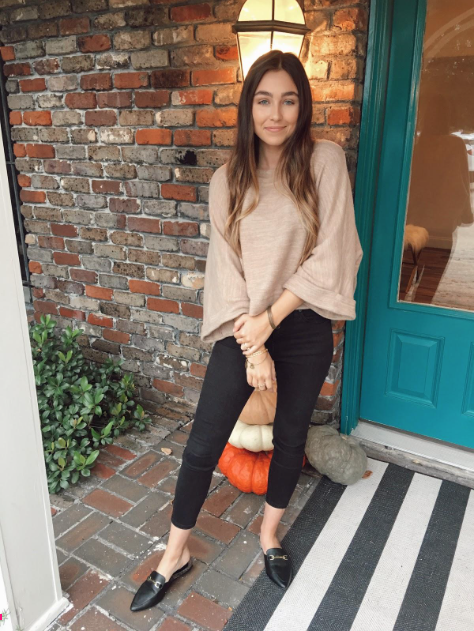 Sweater (similar):   https://www.forever21.com/us/shop/catalog/product/f21/sweater/2000316332    Jeans :  https://shop.nordstrom.com/s/topshop-jamie-high-waist-skinny-jeans/4336536?country=US&currency=USD&mrkgcl=760&mrkgadid=3313962646&utm_content=33067516469&utm_term=pla-260936180055&utm_channel=shopping_ret_p&sp_source=google&sp_campaign=662927188&rkg_id=0&adpos=1o2&creative=145518893992&device=c&matchtype=&network=g&gclid=EAIaIQobChMIhK_E0fPC3gIVDtvACh1ypg83EAQYAiABEgKEPfD_BwE    Loafers:   https://www.lulus.com/products/antonia-black-faux-fur-loafer-slides/457452.html?VSSugg=True&rrec=true&rrec=true&VSRec=True