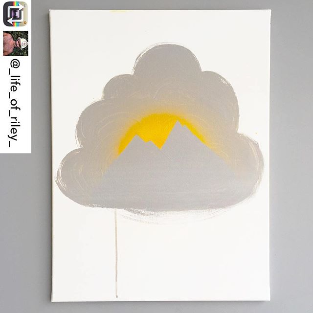 "Another beautiful piece from artist/INT-O Yellow co-founder @_life_of_riley_ body of work in honor of May as Mental Health Awareness Month. This painting, titled ""Cumulus"" is intended to symbolize the theory that most of what we experience as ""obstacles"" are not real, they are thoughts which we accumulate and can also dissipate. This piece is currently for sale for $550, with 25% benefitting the Mental Health Association of America and 25% to UMEWE to continue inspiring #optimism in the arts by gifting more #INTOyellow paint to artists! INQUIRIES: Riley@UMEWEinc.com ☁️🗻🎨#mentalhealthawareness #mha #mentalhealthawarenessmonth #optimisminaction"