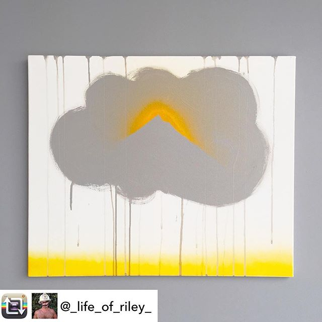 "In honor of May as Mental Health Awareness Month (May), artist/INT-O Yellow co-founder @_life_of_riley_ created a body of work to explore a range of issues such as depression, suicide, mindfulness, and neuroplasticity. This painting, titled ""Cumulus II"" is intended to symbolize the theory that most of what we experience as ""obstacles"" are not real, they are simply thoughts which we accumulate and can dissipate. This piece is currently for sale for $550 (25% benefitting the Mental Health Association of America and 25% to UMEWE to inspire #optimism in the arts by continuing to gift #INTOyellow paint to other artists)! For all inquiries contact: Riley@UMEWEinc.com #optimisminaction #mentalhealthawareness #mha #mentalhealthawarenessmonth"