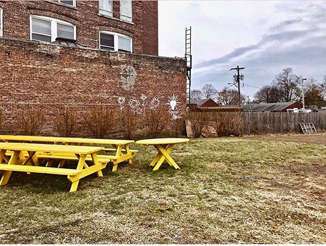 Thanks to @kingston.design.connection for stopping to enjoy our #INTOyellow picnic tables in Kingston, NY (and for snapping this great pic!) #optimism #optimisminaction #communityart #UMEWE