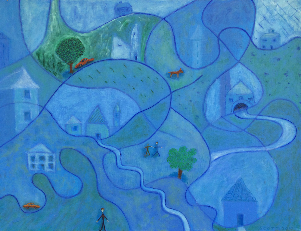 Figures in a Landscape Surrounded by Artistic Devices  (2010), 18 x 24 in, oil on canvas