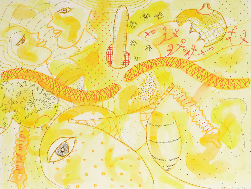 Rub-a-dub-dub  (2007), 15 x 19 3/4 in, mixed media on watercolor paper