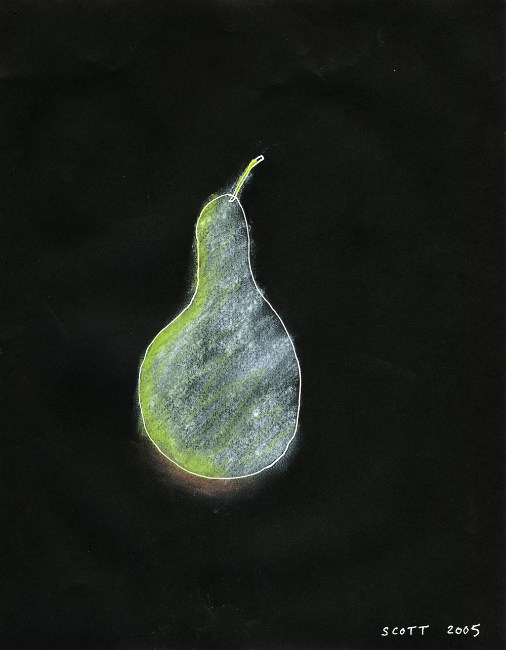 Single Pear  (2005), 11 x 8.5 in, mixed media on paper