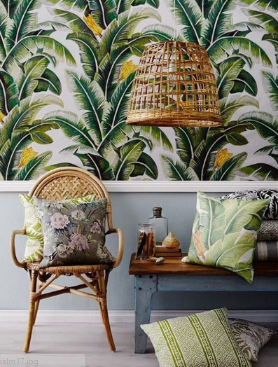 The fact that this wallpaper is complemented with a rattan light fixture just makes us love it that much more!