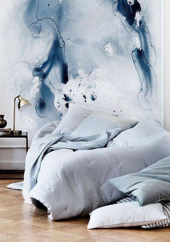 Watercolor wall paper- interior design