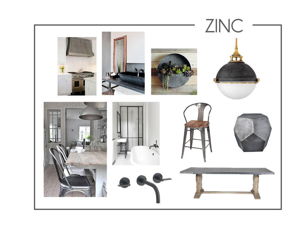 Zinc is here and it is so fierce! Zinc is so bold and moody... and who doesn't love some attitude! We are excited to use more zinc in our upcoming projects .