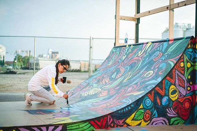 """As the sun colors flowers, so does art color life."" 🌞🌹❣️ Artist @demenciabeivide lends new life to our recycled skate ramp. #Amor #CrushedIt 📸 @dittlo_"