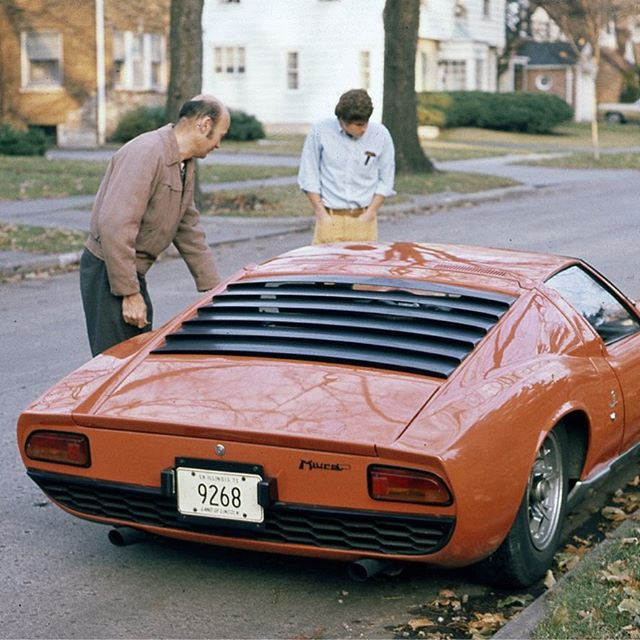old photo of #miura #3078 from December 1970. Looks like it was a good day for a #drive . . . . #lamborghini #miura #p400 #miurap400 #whencarswerecars #classiccars #vintagecar #original #70s #oldphoto