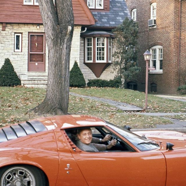 Here is another #oldphoto from that same December 1970 day. Funny that the photographer incidentally focused on the house across the street and not the Lamborghini in front of them. Who wouldn't be smiling going for a ride in a Miura?  There is something about going for a #drive in a radical car that brings out the 10 year old in all of us. #everycartellsastory #meanttobedriven . . . #classicaf #lamborghini #miura #p400 #miurap400 #whencarswerecars #classiccars #classiccar #vintagecar #original #70s #oldphoto #italian #supercar #originalsupercar #bertone #carguy #patina #barnfindmiura #barnfind #drivetastefully #periodpiece #everycartellsastory #nostalgic #nostalgia #eyelashes #v12