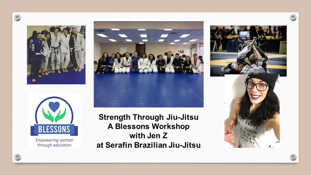 Fantastic Jiu-Jitsu workshop with Jen Z on behalf of Blessons on Sunday, Feb. 25th, 2018! Jennifer and Candy, her amazing student, put us through the rigors of Jui-Jitsu and helped us attendants feel confident to be able to defend ourselves in situations that unfortunately we should be prepared to deal with. Jennifer is an incredibly motivated individual! In addition to having a purple belt in Jui Jitsu and being an instructor, and competitor, Jennifer is a proprietor of a Spa in Evanston - Jen Z's Beauty Services, Inc.! Check her out at  http://www.jenzanotti.com/  🚺🥋💪🏼
