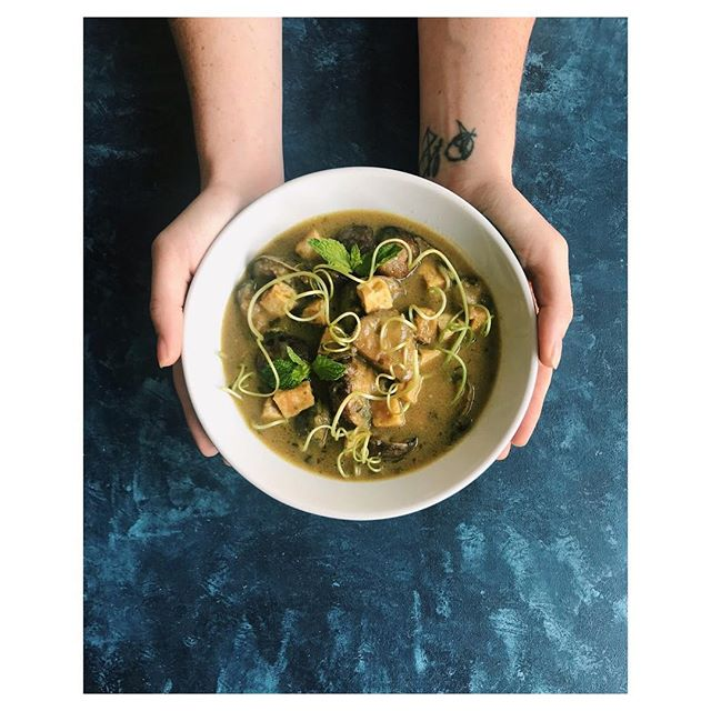 Here's a little inspiration for a rainy Monday night meal for #meatlessmonday! (Recipe in comments)  Thai Green Curry with Garlic Scapes, Eggplant & Tofu Time: 40 Minutes Serving Size: 2 Difficulty Level: EASY – don't be intimidated by the long list of ingredients!