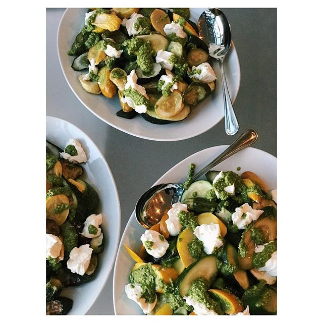 Roasted Summer Squash with Whipped Ricotta & Basil Brazil Nut Pesto (the perfect side dish to any end of summer party) Recipe in comments!
