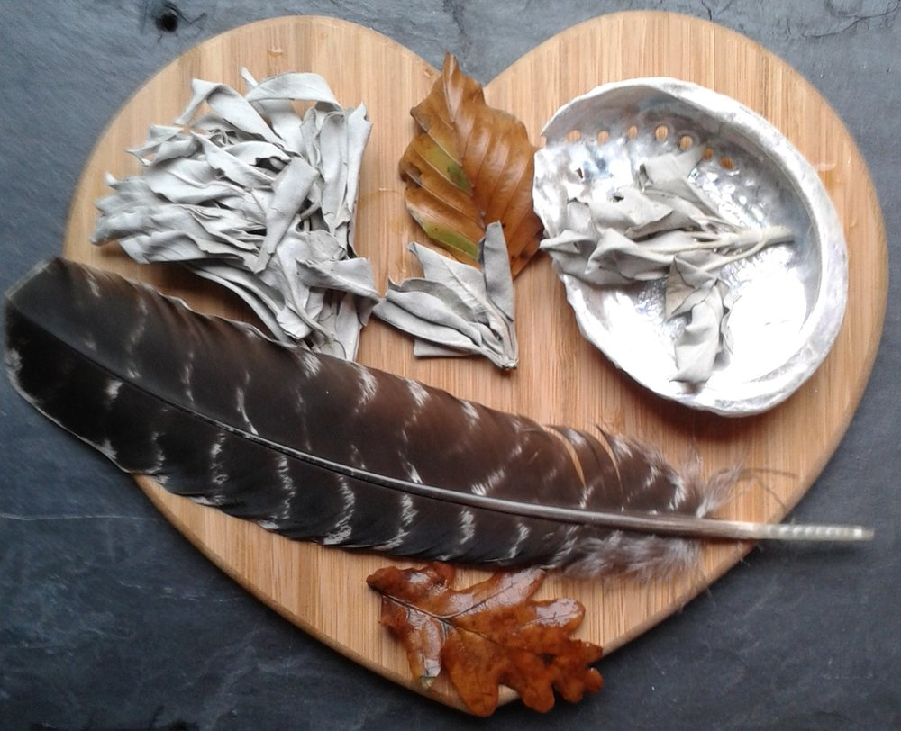 Blog 2-2019 Feb-White sage bundles and feather.jpg