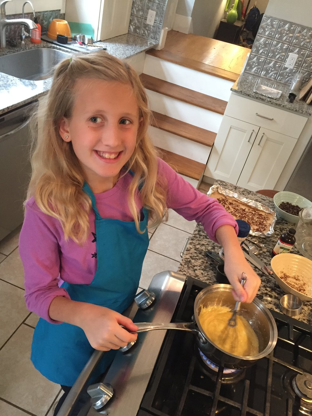 Berklee stirring up her toffee!