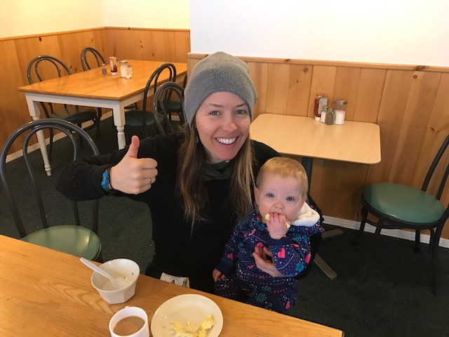 We didn't sleep at all last night, but at least the hotel breakfast was….there. And the skiing was excellent. (Photo taken near Red Mountain, BC.)