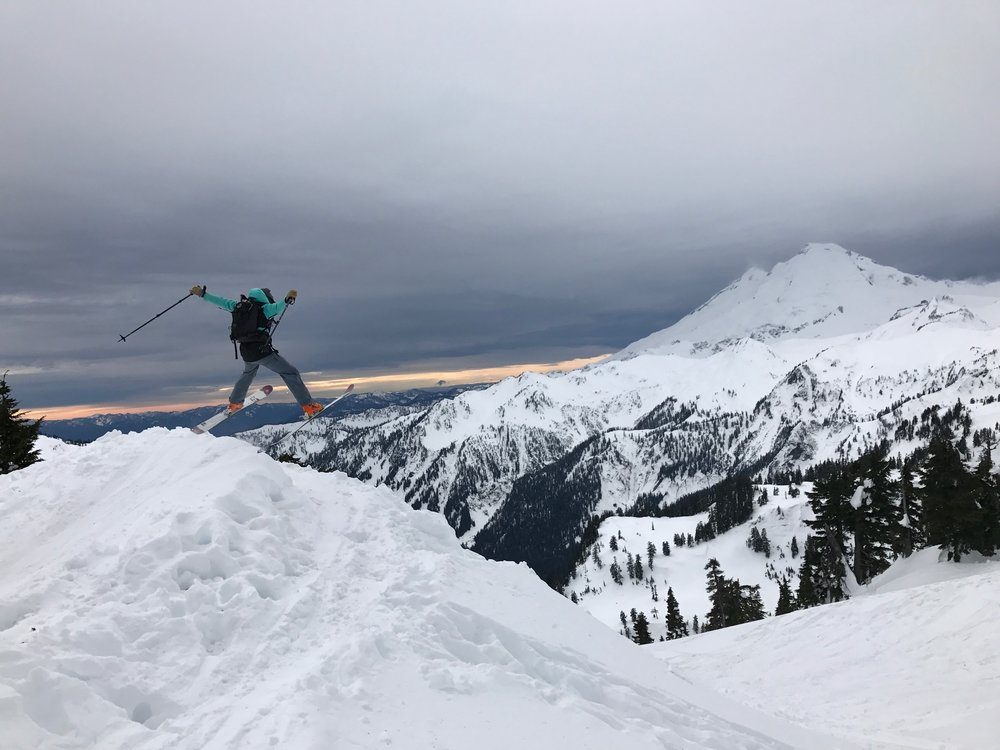 Friends who fly are the funnest friends! Anne, spreading her wings in front of the actual Mount Baker.