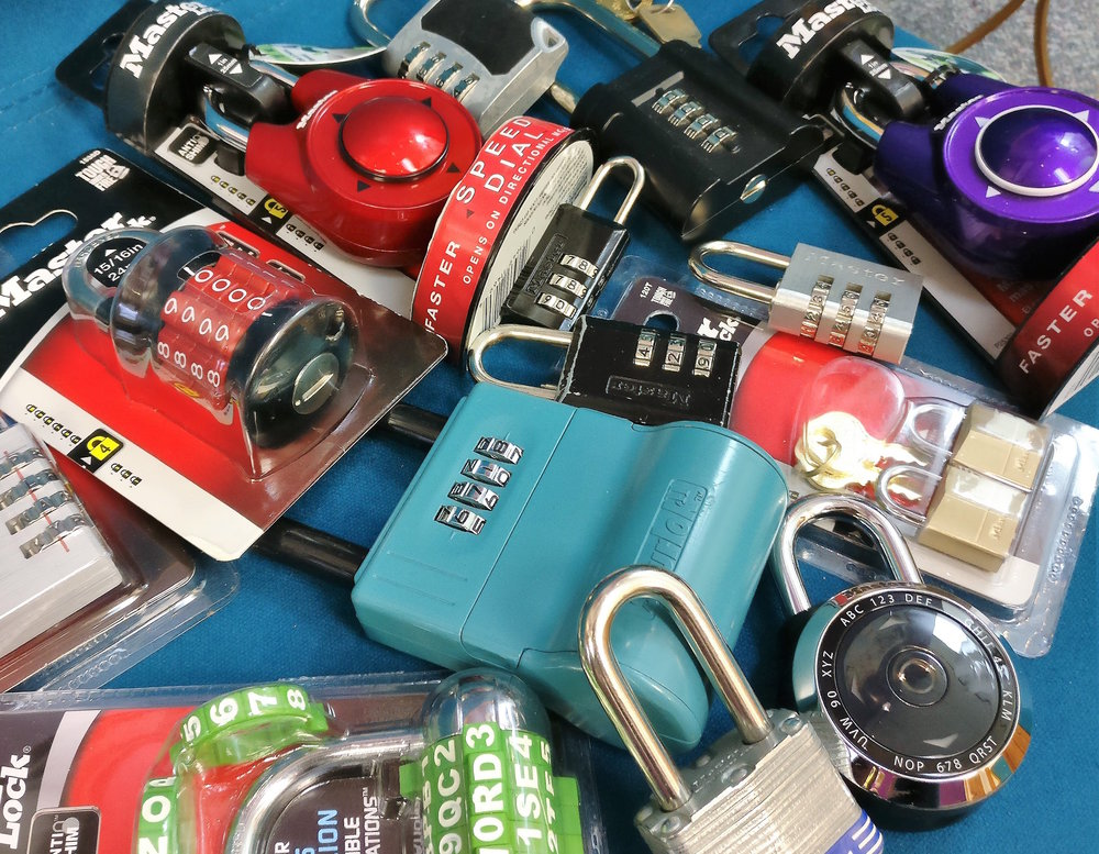 Combination locks used in escape rooms at Bull City Escape