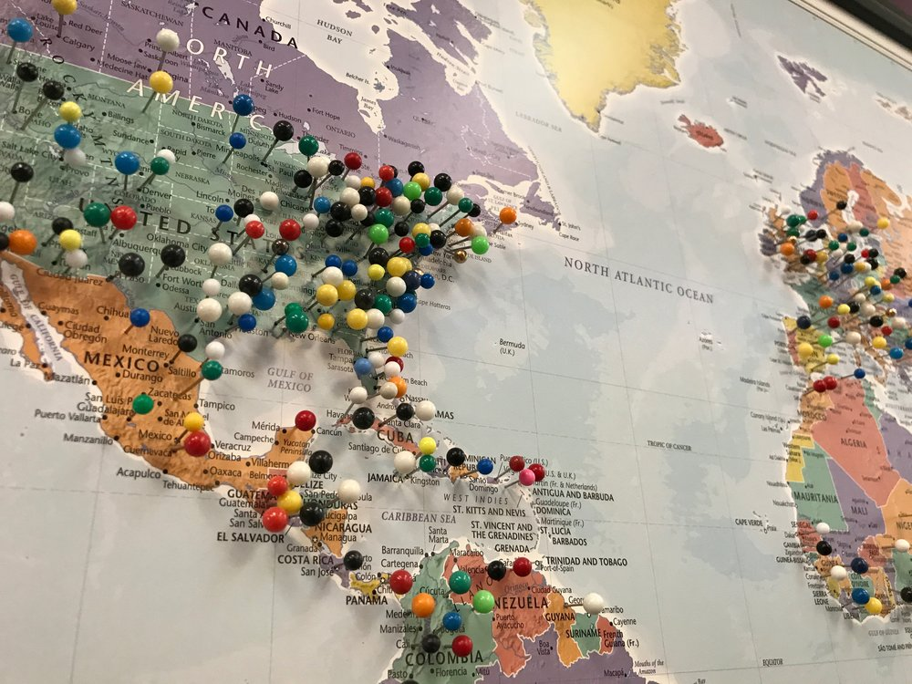 Map at Bull City Escape showing where clients travel from